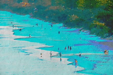 original oil painting of gold coast surfers paradise beach people photo