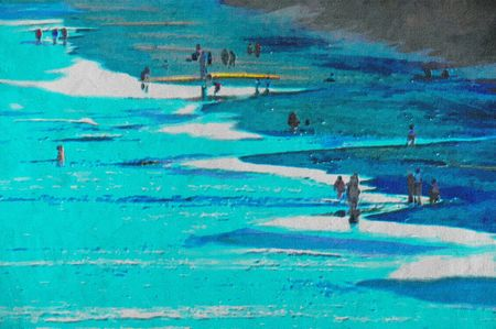 original oil painting of gold coast surfers paradise beach people Stock Photo - 8031331