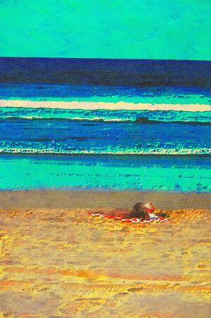 gold coast: original oil painting of gold coast surfers paradise beach people Stock Photo