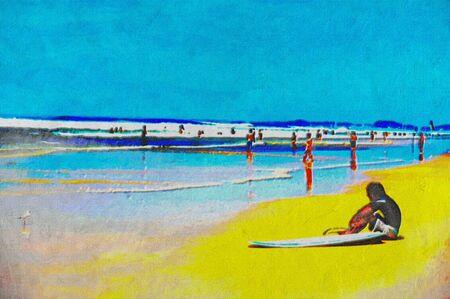 original oil painting of gold coast surfers paradise beach people photo