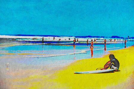 original oil painting of gold coast surfers paradise beach people Stock Photo