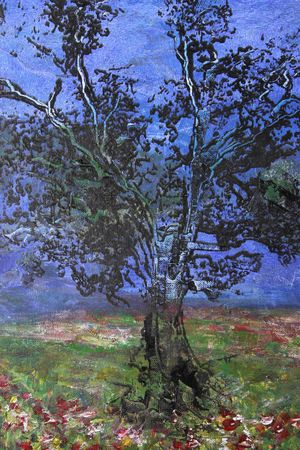 oil painting of tree without leaves on canvas photo