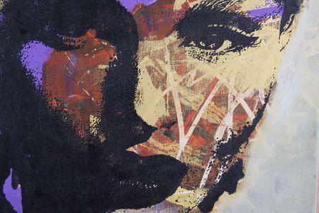 painting face: original pintura al �leo sobre lienzo de algod�n con textura