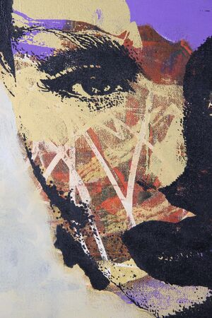abstract portrait: original oil painting on textured cotton canvas