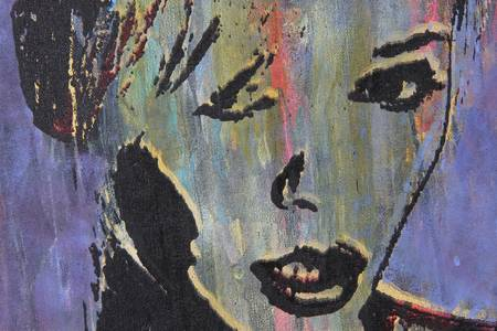 hot lips: original oil painting on textured cotton canvas
