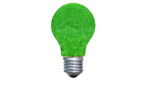 3d light bulb green grass concept render Stock Photo - 8136154