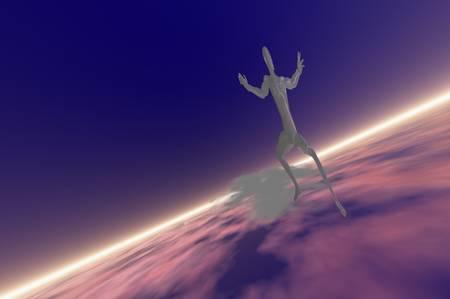 silver man sky surfer 3d concept render photo