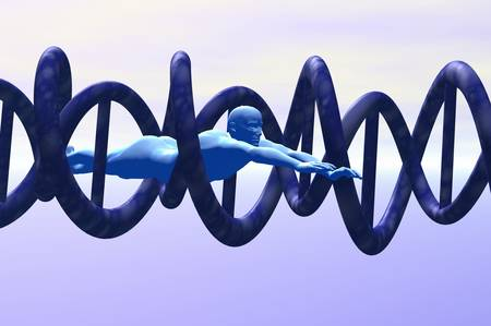 science man exploring dna concept 3d render Stock Photo - 8136150