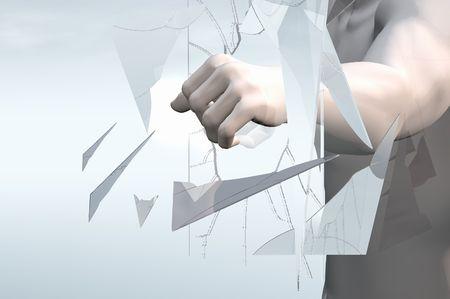 brute: punzonatura attraverso la parete di vetro 3d rendering concetto