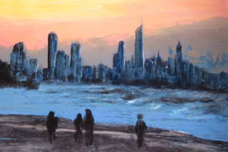 original oil painting beachscape gold coast surfers paradise photo