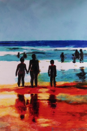 young girls nature: original oil painting beachscape gold coast surfers paradise Stock Photo