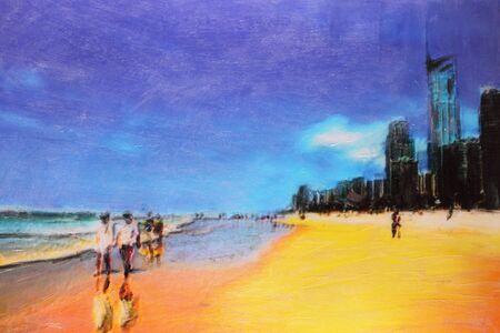gold coast: original oil painting beachscape gold coast surfers paradise Stock Photo