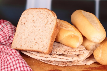 bread selection still life group on board photo