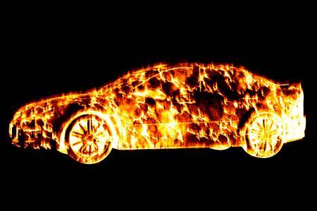 sports car heat on fire concept image Stock Photo - 8348075