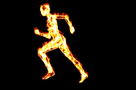 fire woman running concept render image isolated photo