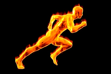 fire man running concept render image isolated