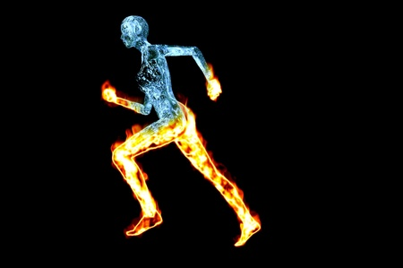 burning woman water runner 3d render concept image isolated on black Stock Photo