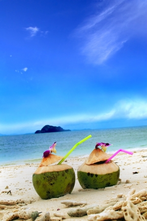 pina colada on tropical beach phi phi island thailand