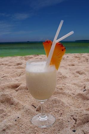 pina colada on tropical beach phi phi island thailand photo