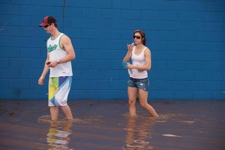 BRISBANE, AUSTRALIA - JAN 12: Alluvione Brisbane Queensland dichiarato naturale disater 12 gennaio 2011 a Brisbane, Australia