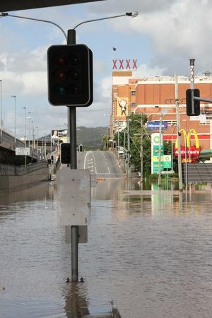BRISBANE, AUSTRALIA - JAN 13 : Flood  Brisbane Milton brewery area Queensland declared natural disater January 13, 2011 in Brisbane, Australia