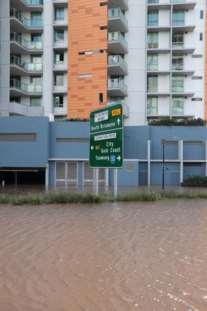 BRISBANE, AUSTRALIA - JAN 13 : Flood  Brisbane City  area Queensland declared natural disater January 13, 2011 in Brisbane, Australia