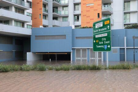 declared: BRISBANE, AUSTRALIA - JAN 13 : Flood  Brisbane City  area Queensland declared natural disater January 13, 2011 in Brisbane, Australia