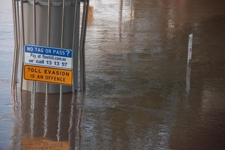 declared: BRISBANE, AUSTRALIA - JAN 13: Zona della citt� di Brisbane alluvione Queensland dichiarato naturale disater 13 gennaio 2011 a Brisbane, Australia