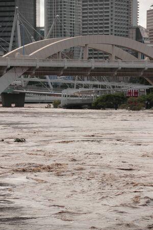 BRISBANE, AUSTRALIA - JAN 13 : Flood  Brisbane south bank area January 13, 2011 in Brisbane, Australia