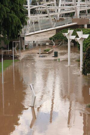 flood area: BRISBANE, AUSTRALIA - JAN 13 : Flood  Brisbane south bank area January 13, 2011 in Brisbane, Australia  Editorial