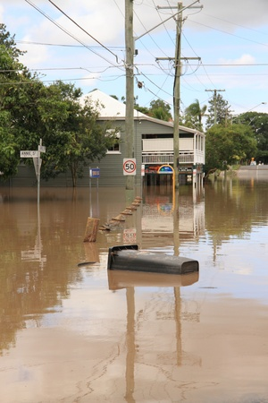 BRISBANE, AUSTRALIA - JAN 13 : Flood  Brisbane  Rosalie area Queensland declared natural disater January 13, 2011 in Brisbane, Australia  Stock Photo - 8607973