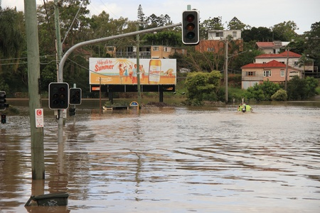 here's: BRISBANE, AUSTRALIA - JAN 13 : Flood  Brisbane City  area Queensland declared natural disater January 13, 2011 in Brisbane, Australia