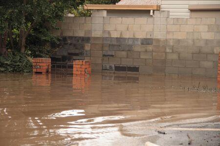 flood area: BRISBANE, AUSTRALIA - JAN 13 : Flood  Brisbane  Rosalie area Queensland declared natural disater January 13, 2011 in Brisbane, Australia  Editorial