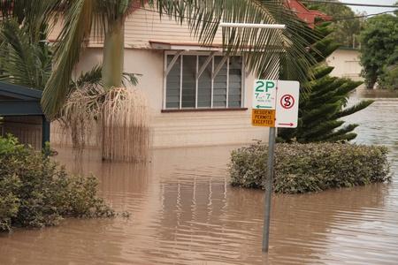 declared: BRISBANE, AUSTRALIA - JAN 13 : Flood  Brisbane  Rosalie area Queensland declared natural disater January 13, 2011 in Brisbane, Australia  Editorial