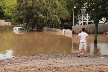 flood area: BRISBANE, AUSTRALIA - JAN 13 : Flood  Brisbane  auchenflower area Queensland declared natural disater January 13, 2011 in Brisbane, Australia  Editorial
