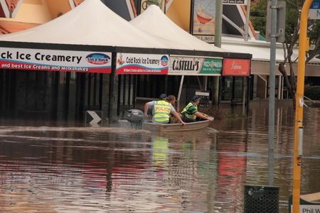 BRISBANE, AUSTRALIA - JAN 13 : Flood  Brisbane auchenflower area police and army patrol January 13, 2011 in Brisbane, Australia  Editorial