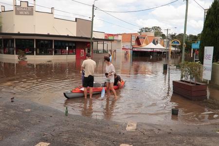 flood area: BRISBANE, AUSTRALIA - JAN 13 : Flood  Brisbane auchenflower area residents and tourists take to rafts January 13, 2011 in Brisbane, Australia  Editorial