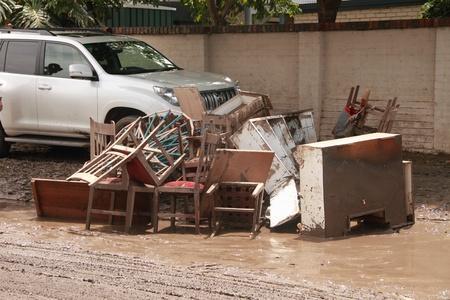 BRISBANE, AUSTRALIA - JAN 14 : Flood  Brisbane Fairfield area belongings thrown out January 14, 2011 in Brisbane, Australia  Editorial