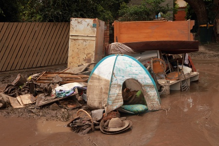 silt: BRISBANE, AUSTRALIA - JAN 14 : Flood  Brisbane Fairfield area belongings thrown out January 14, 2011 in Brisbane, Australia  Editorial