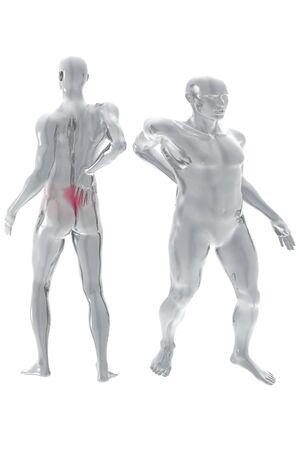 neck pain: back pain 3d render illustration over white