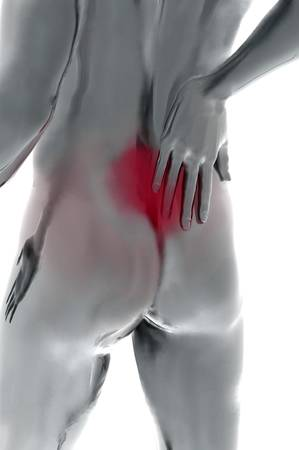 aching muscles: back pain 3d render illustration over white