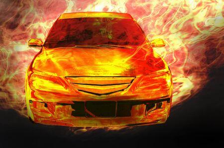 aero: car on fire 3d illustration concept image