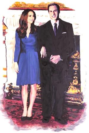 BRISBANE, AUSTRALIA - JAN 28: Produzione di pittura Souvenir del Principe William e Kate Middleton impegno 28 gennaio 2011 a Brisbane, Australia
