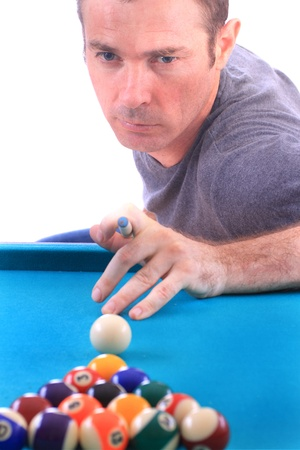 man playing pool age 30s isolated over white photo