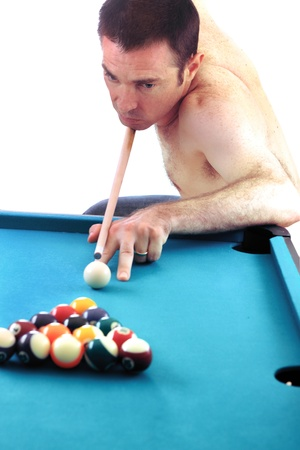 Pool man isolated over white game loser  photo