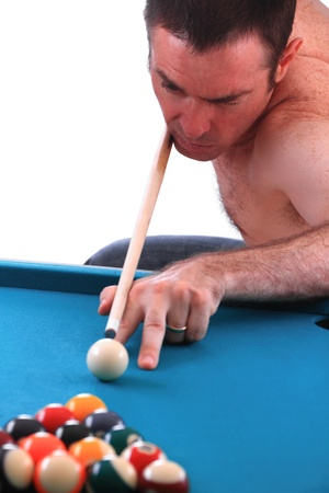 poolball: Pool man isolated over white game loser  Stock Photo