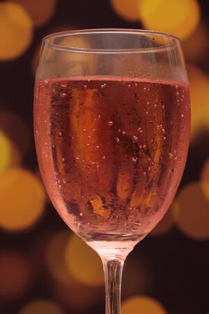 pink champagne  or sparkling wine rose blend photo