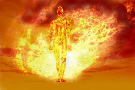 powerful: man proudly walking forward through fire ball Stock Photo