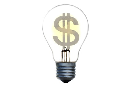 dollar electric light bulb 3d concept render Stock Photo - 8841501