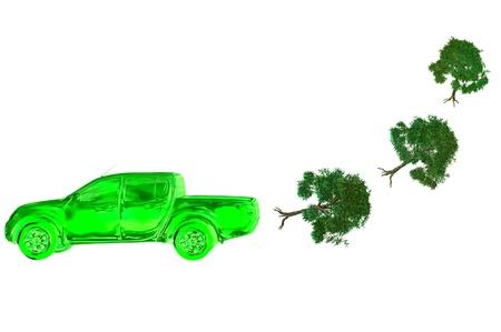 enviromental hybrid car eco concept 3d pollution render photo